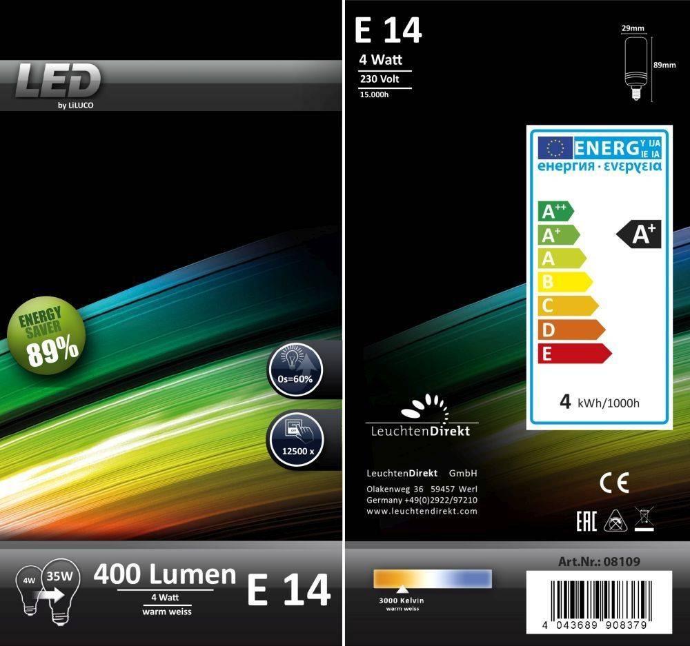 LED-Leuchtmittel E14 in Stabform mit warmweißer Farbtemperatur