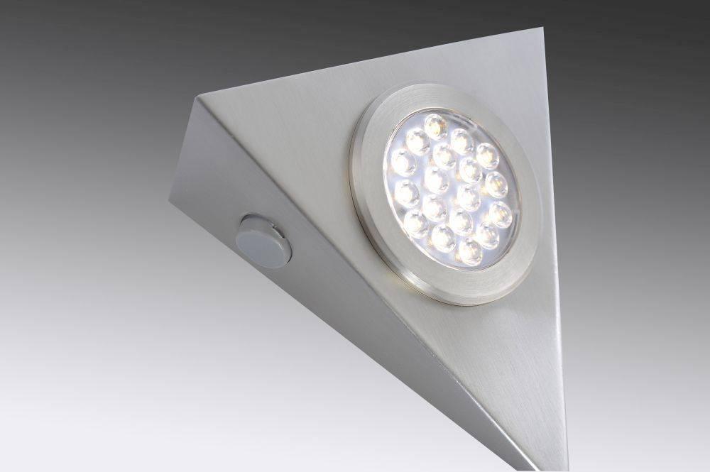 LED-Unterbauleuchten 3er Set in Stahl mit warmweißer Lichtfarbe inkl. Zuleitung und Sensorschalter