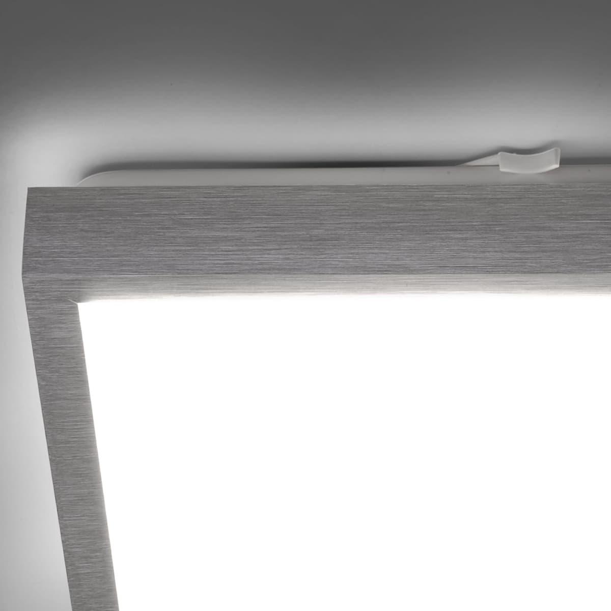 LED Deckenleuchte in aluminiumfarben und quadratisch inklusive vier festverbauten LED-Leuchtmitteln