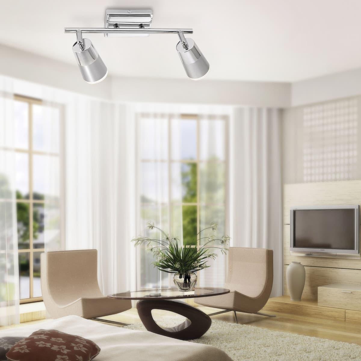 LED-Deckenleuchte, Chrom, 2 verstellbare Leuchtköpfe, inkl. Wippschalter