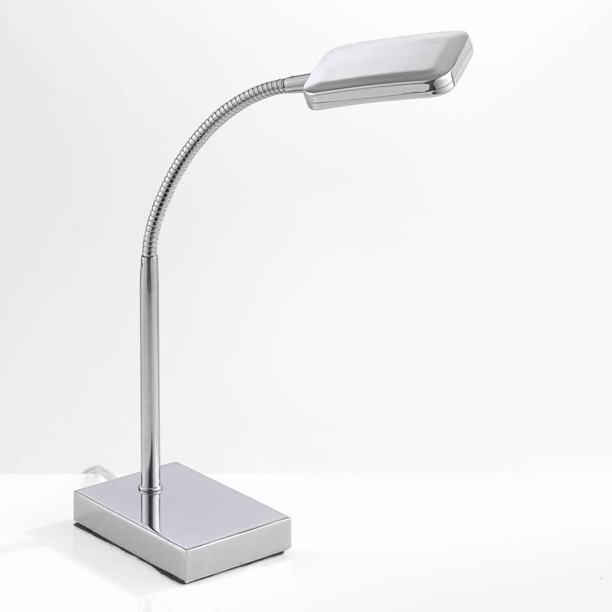 LED-Tischleuchte in Chrom mit verstellbaren Leuchtkopf inkl. Schnurschalter und warmweißer Lichtfarbe