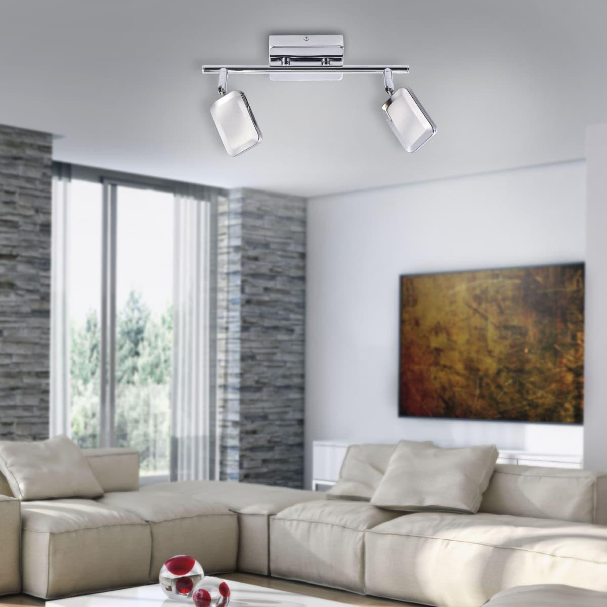 LED Wandleuchte, Deckenleuchte, 2-flammig, chrom