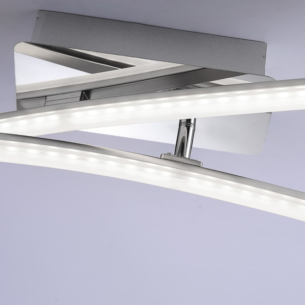LED Deckenleuchte in stahlfarben inkl. zwei verstellbaren Lichtstäben