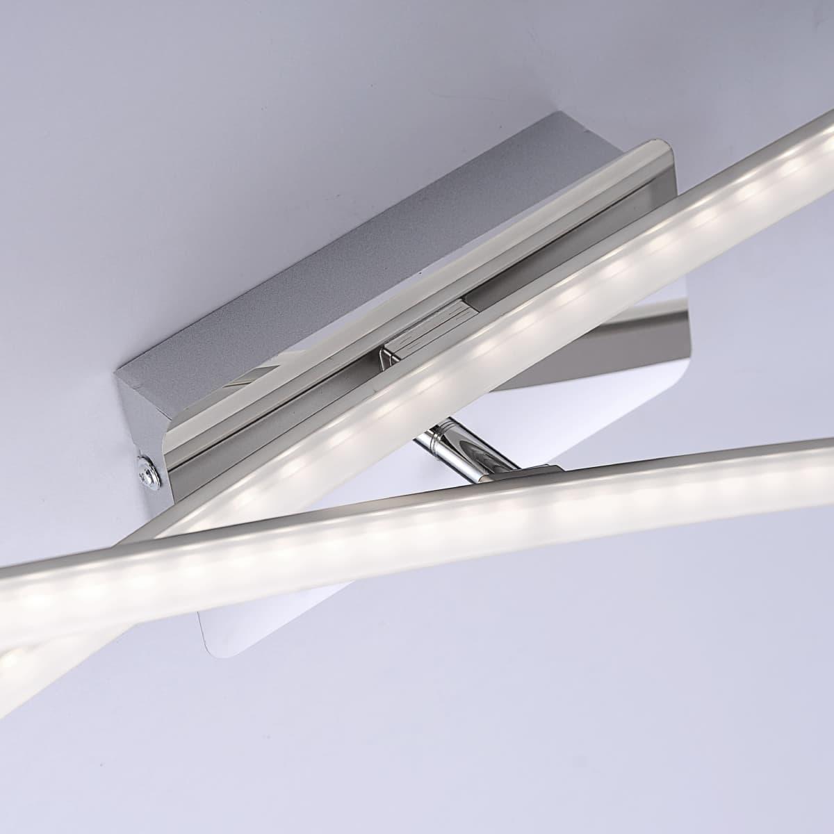 LED Deckenleuchte in stahlfarben, zwei flammig dank 2 verstellbaren Lichtleisten