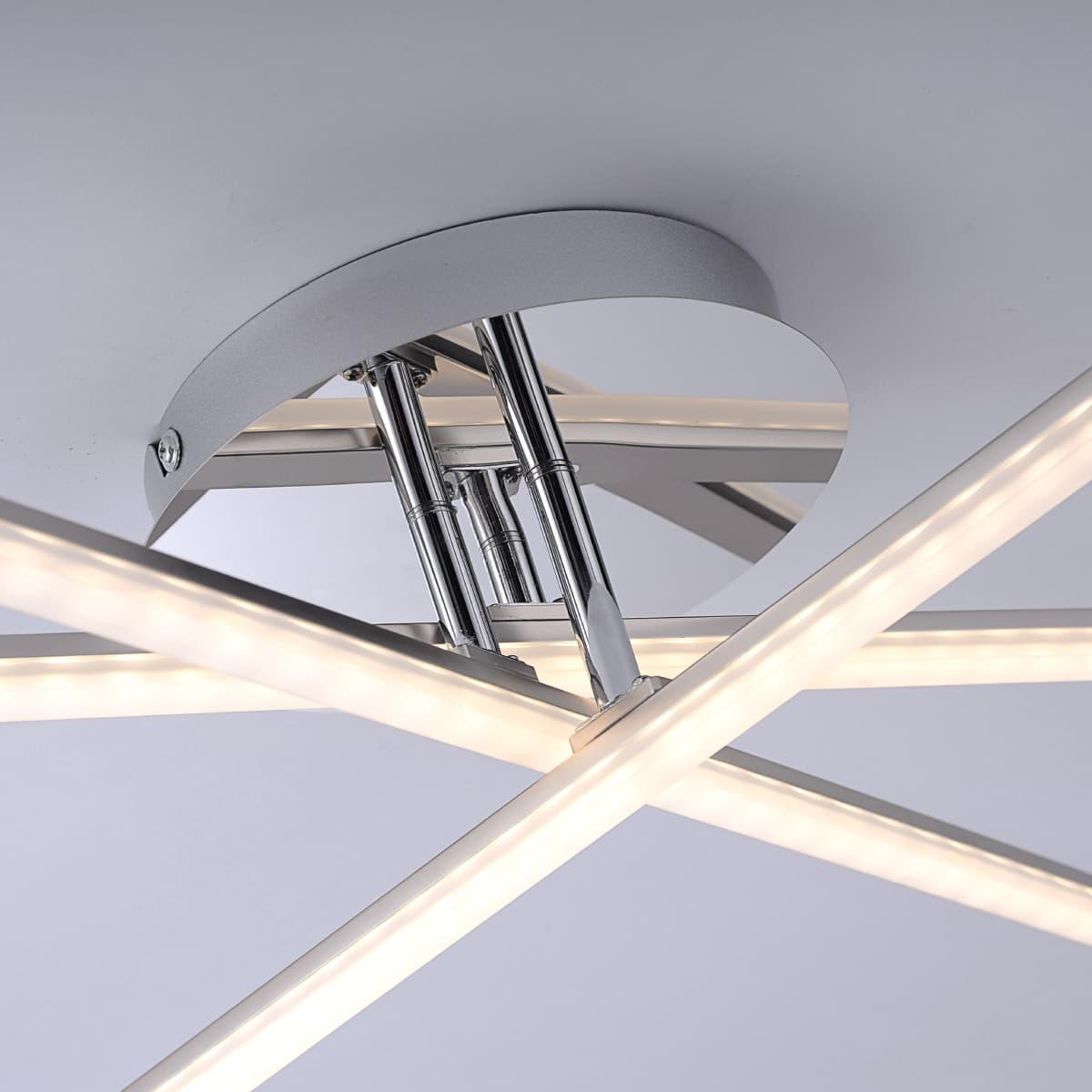 LED Deckenleuchte in stahlfarben inkl. drehbarer Leuchtenarme