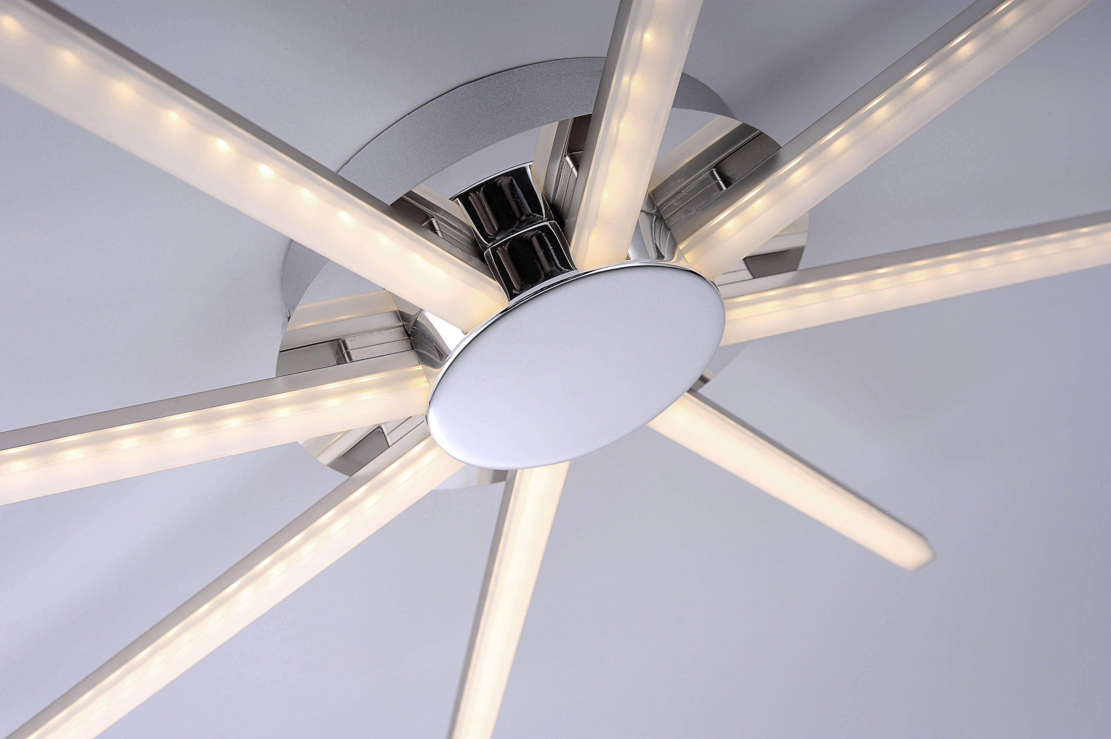 LED Deckenleuchte, 8-flammig, stahl, Sonnen-Form