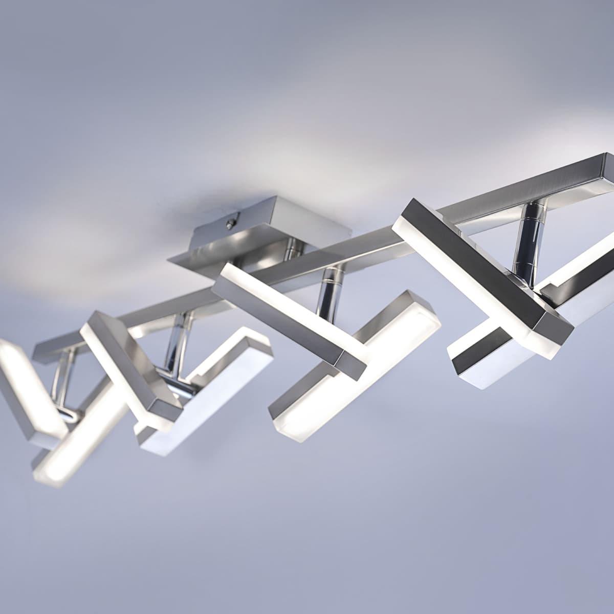 LED-Deckenleuchte in Stahl mit 8 verstellbaren Leuchtköpfen und warmweißer Lichtfarbe ist energiesparend