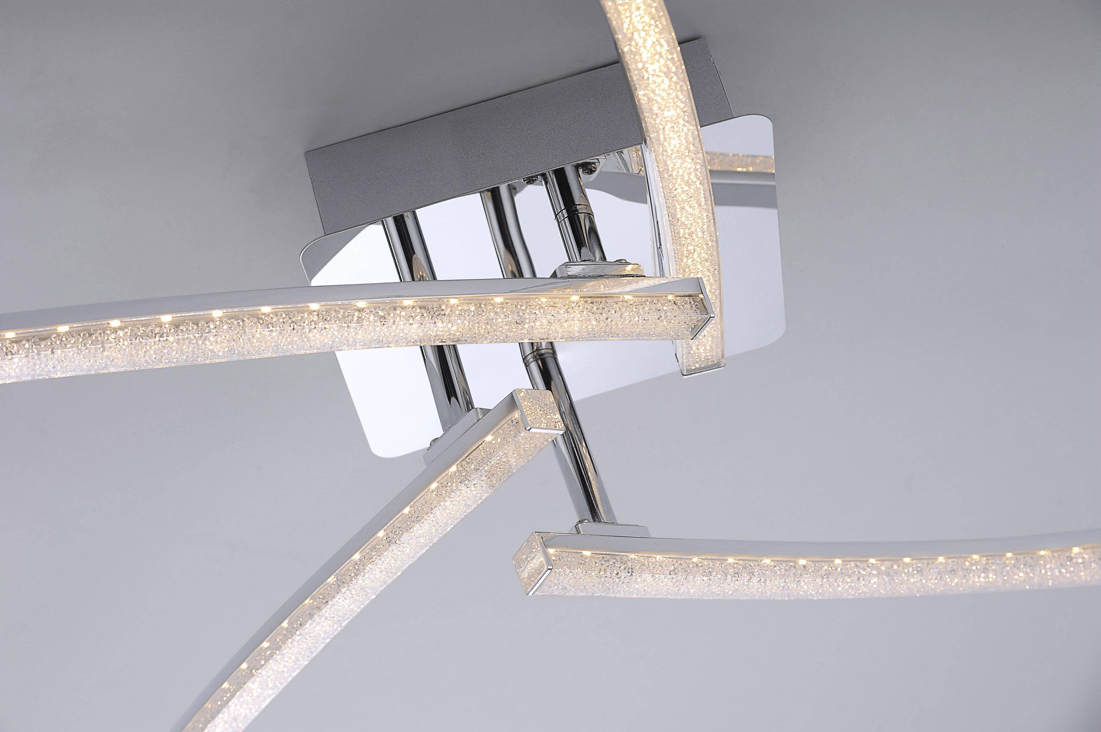 LED Deckenleuchte, drehbare Leuchtstäbe, chrom