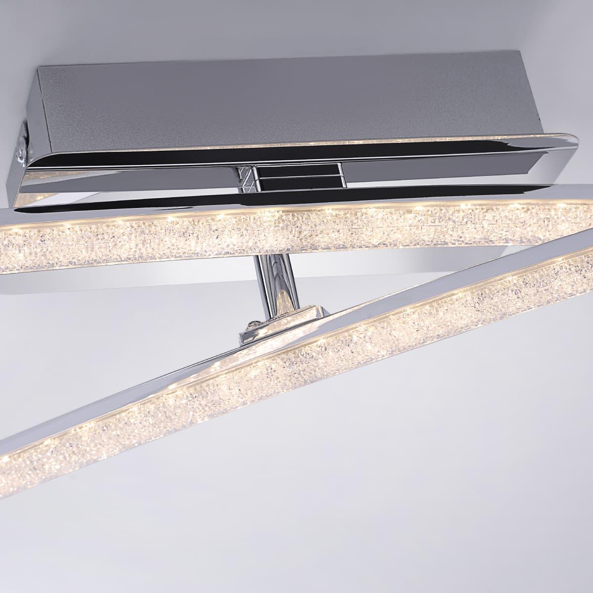 LED Deckenleuchte in Chrom inkl. einem festen und einem drehbaren Leuchtarm