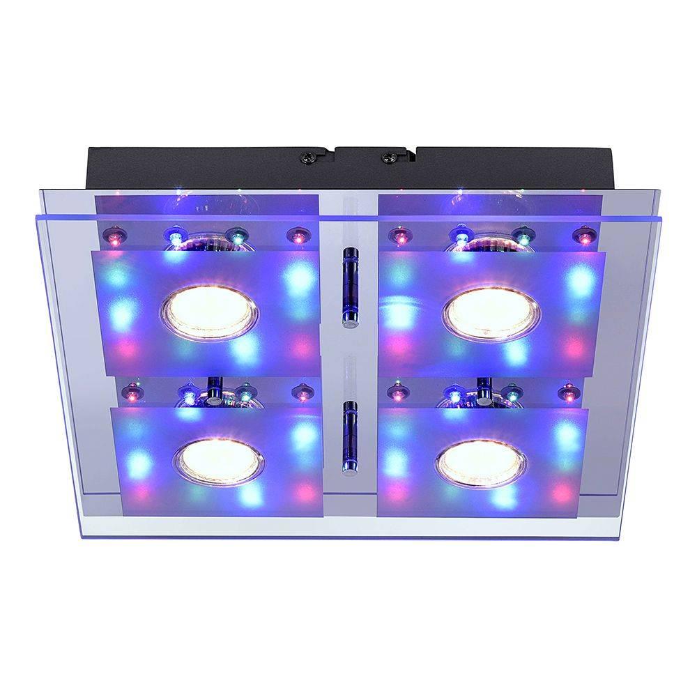LED-Panel in chrom als quadratische Deckenleuchte mit Farbwechsel inkl. Fernbedienung mit Serienschaltung