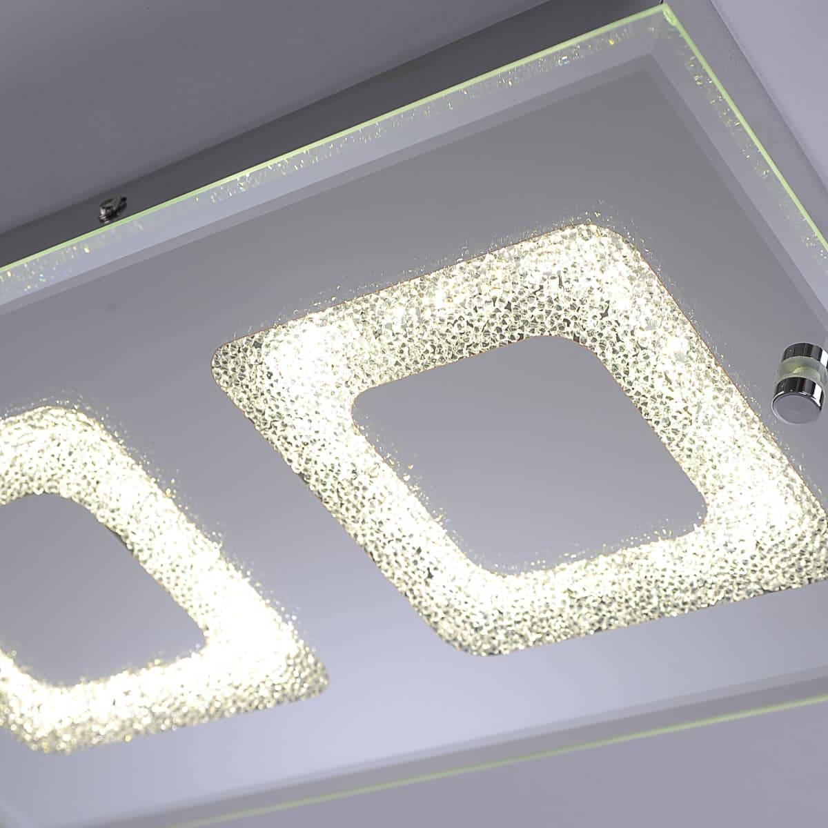 LED Deckenleuchte 2-flammig in chrom aus Glas gefertigt