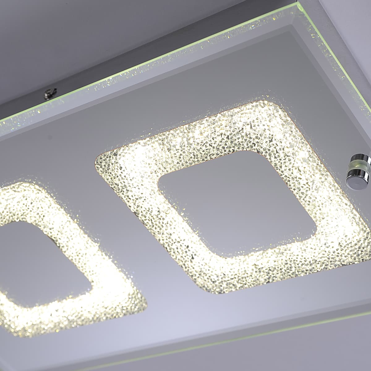 LED Deckenleuchte, Chrom, 2-flammig, Glas