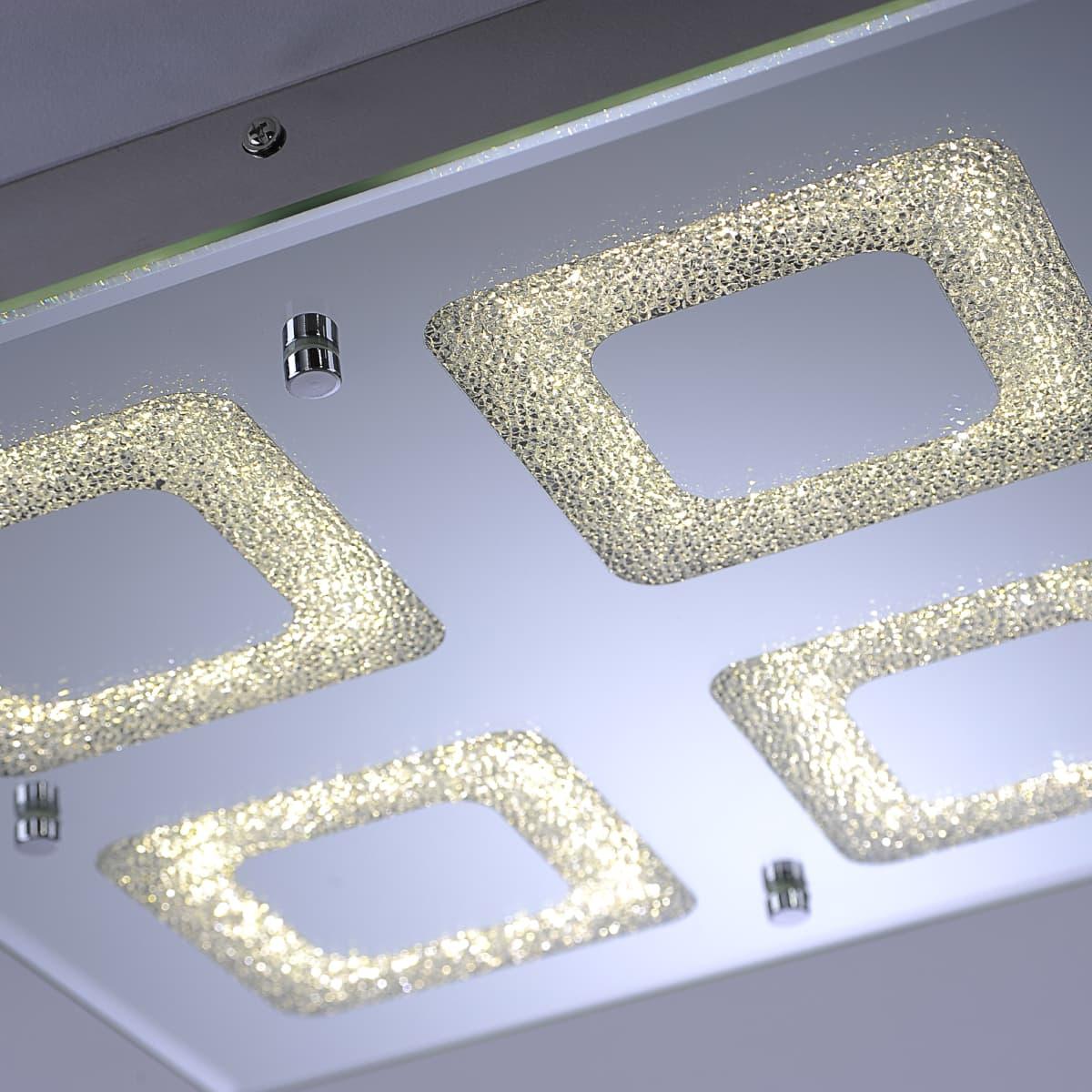 LED Deckenleuchte, 4-flammig, Chrom, Quadratisch
