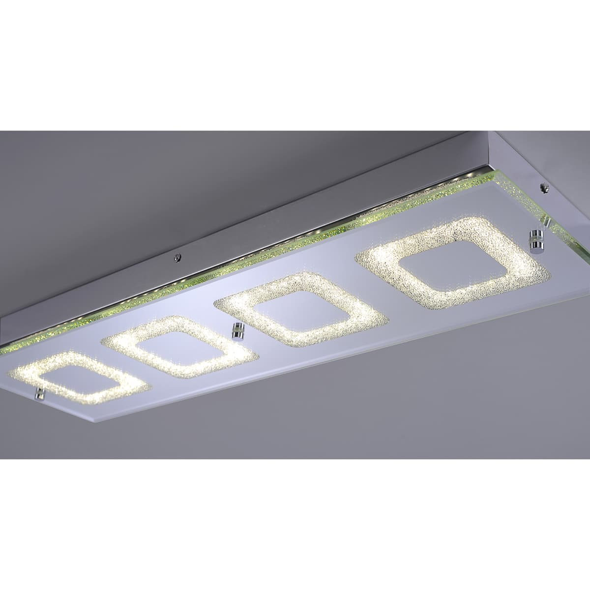 LED Deckenleuchte, Wandleuchte, chrom, Glas
