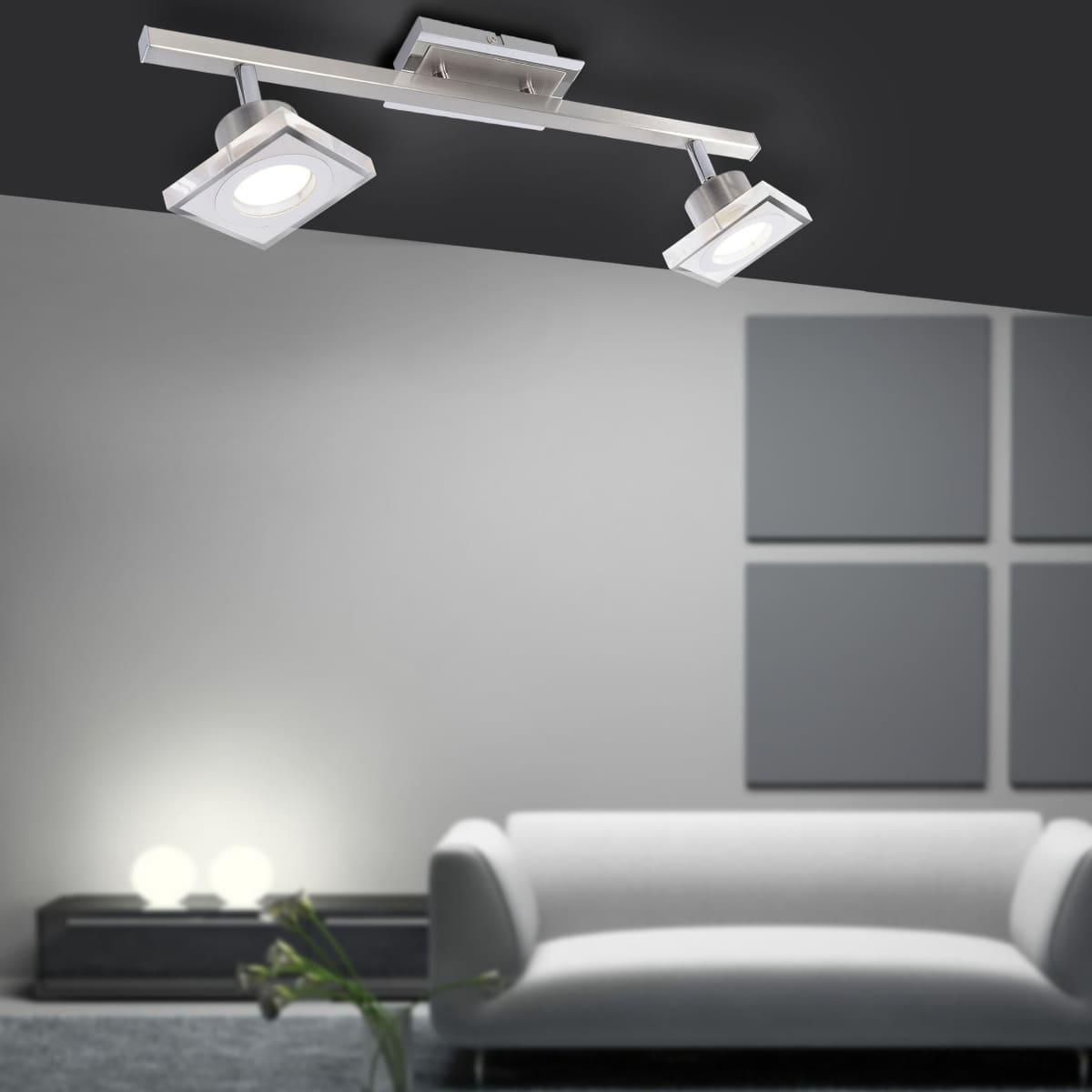 LED-Deckenleuchte in Stahl mit 2 Leuchtköpfen und warmweißer Lichtfarbe inkl. Switchmo Dimmfunktion