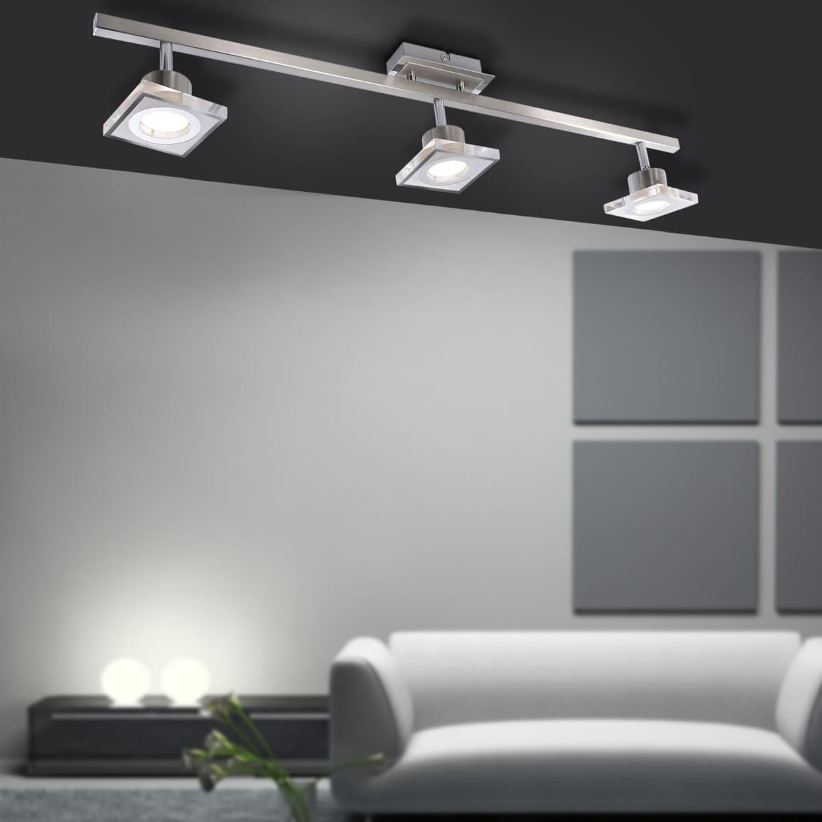 LED Deckenleuchte, Strahler, 3-flammig, stahl