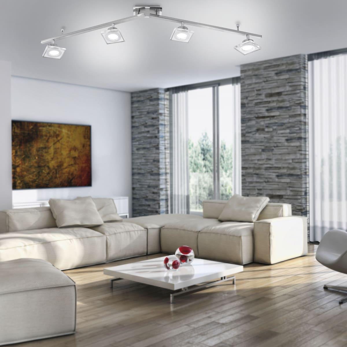 LED-Deckenleuchte in Stahl mit 4 Leuchtköpfen sowie warmweißer Lichtfarbe inkl. Switchmo Dimmfunktion