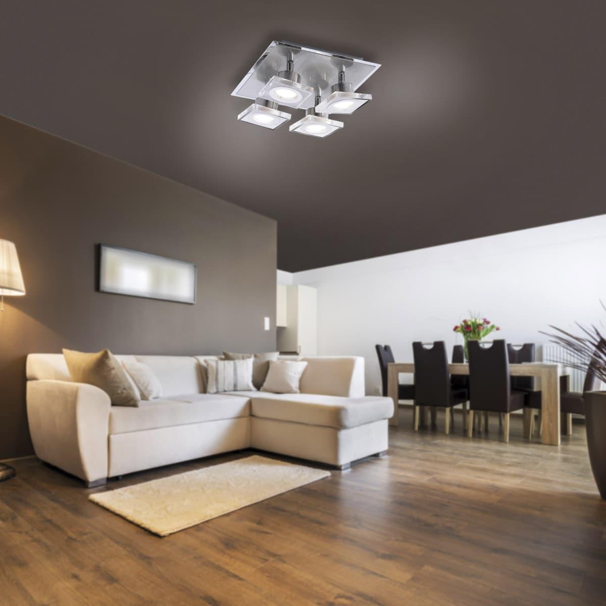 LED-Deckenleuchte in Stahl mit 4 Leuchtköpfen sowie warmweißer Lichtfarbe