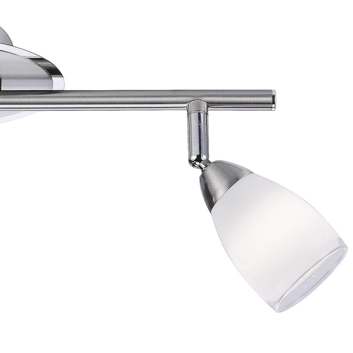 LED-Deckenstrahler in Stahl mit 2 verstellbaren Leuchtköpfen und warmweißer Lichtfarbe ist energiesparend