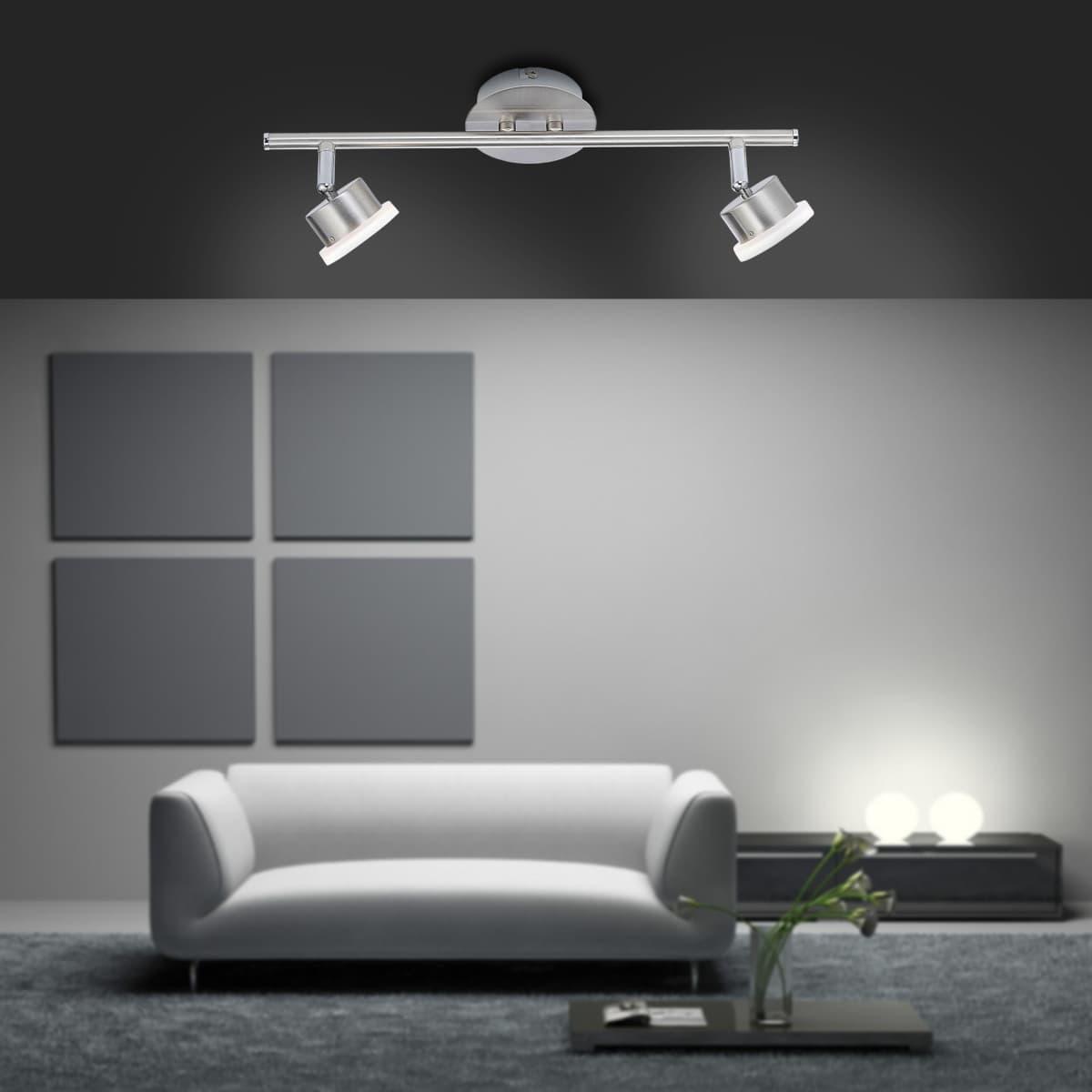 LED-Deckenstrahler in Stahl mit 2 Leuchtköpfen sowie warmweißer Lichtfarbe inkl. Switchmo Dimmfunktion
