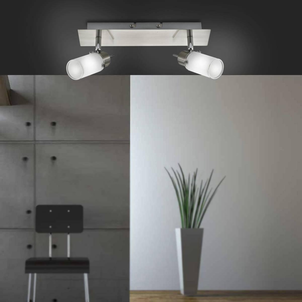 LED-Deckenleuchte in eckig und Stahl mit 2 verstellbaren Leuchtköpfen mit warmweißer Farmtemperatur