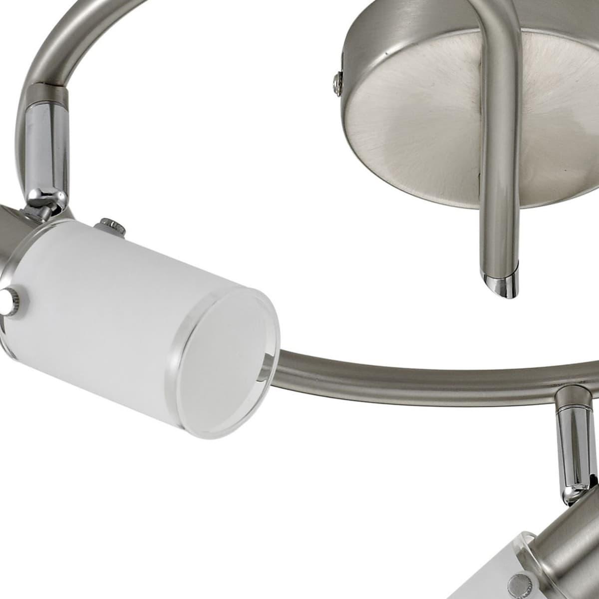 LED Deckenleuchte, rund, stahl, Glas, 3-flammig