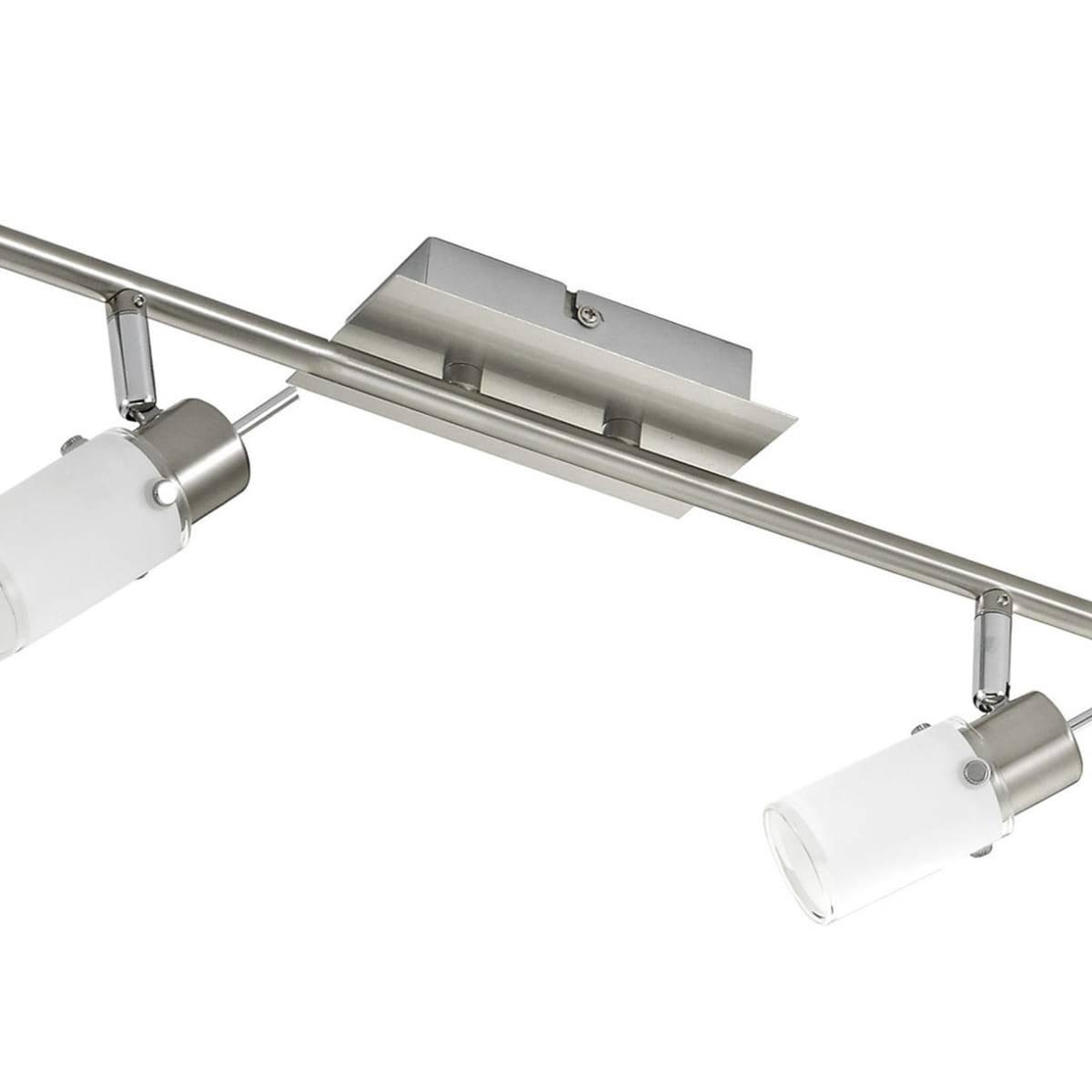 LED-Deckenleuchte in Stahl mit 6 verstellbaren Leuchtköpfen und warmweißer Lichtfarbe ist energiesparend