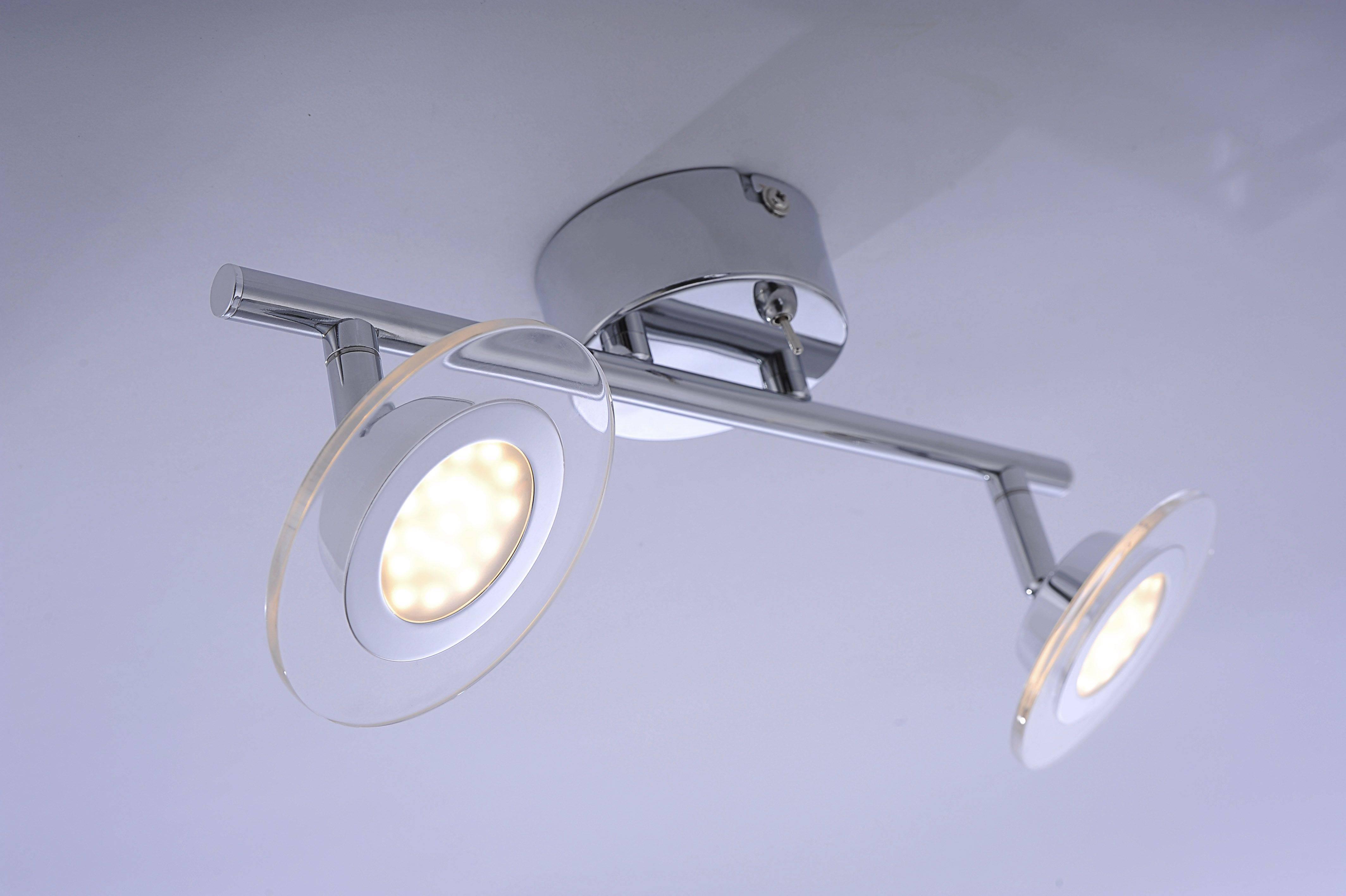 LED Wandleuchte, Deckenleuchte, chrom, Glas