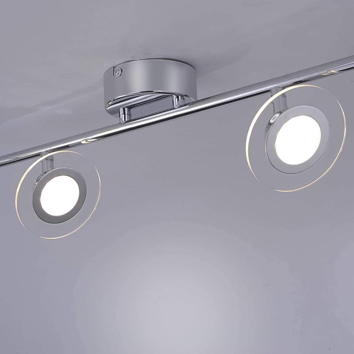 LED Deckenleuchte mit 6 schwenkbaren, abgerundeten Spots
