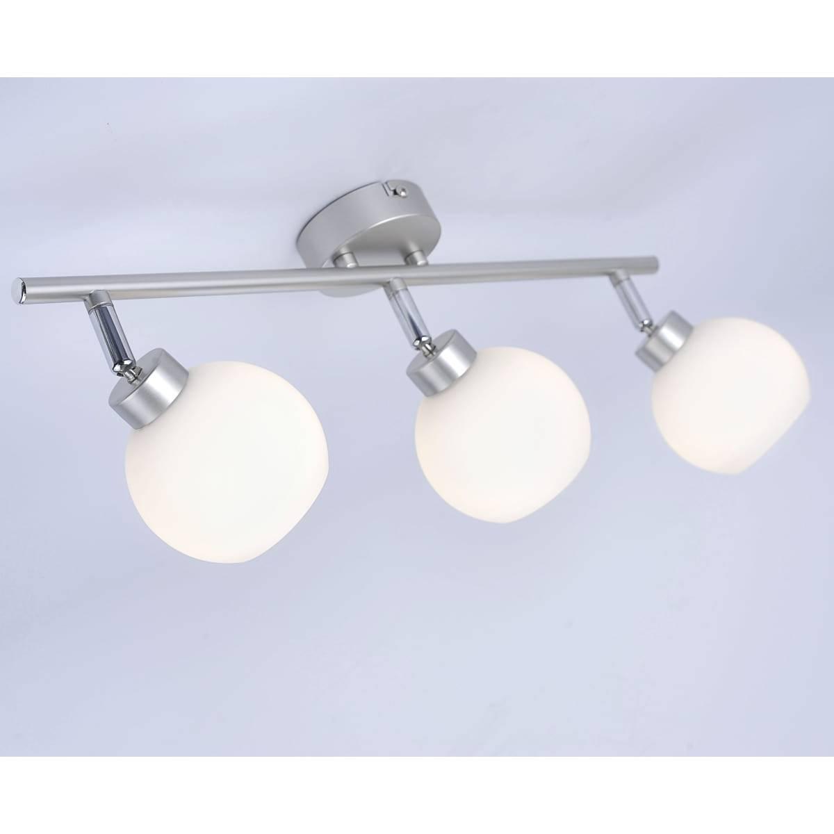 Deckenleuchte in Stahl und satinierten Glas mit 3 verstellbaren Leuchtköpfen für G9 Leuchtmittel