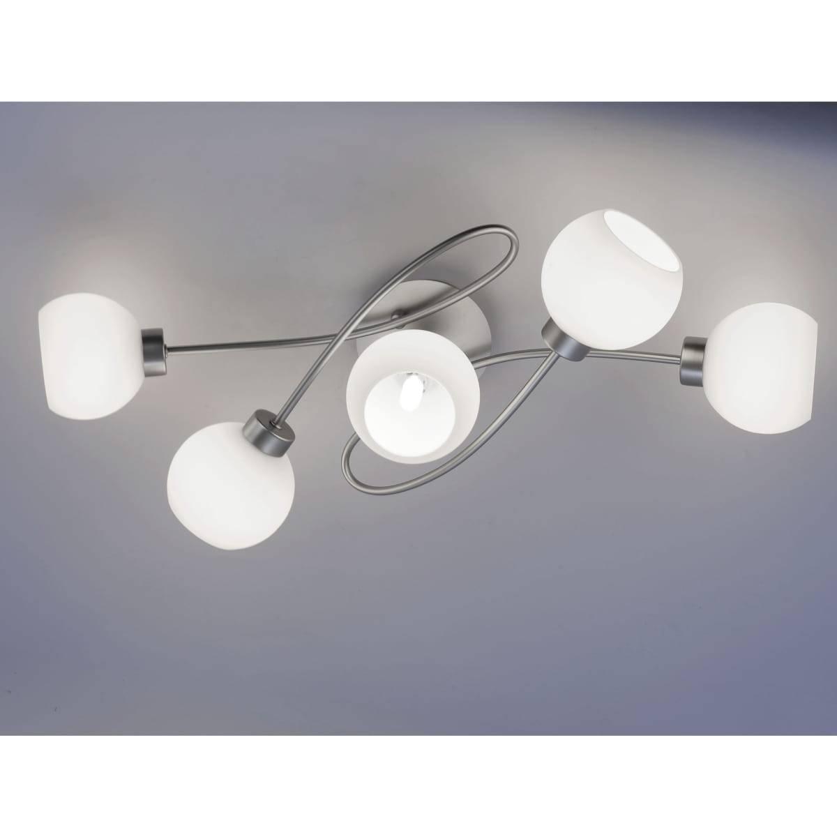 Deckenleuchte in Stahl und geschwungen mit 5 verstellbaren Leuchtköpfen aus Opalglas für G9 Leuchtmittel