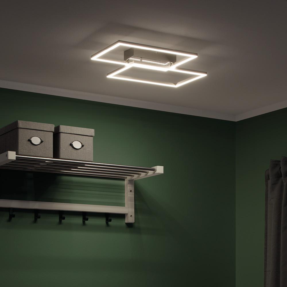 LED-Deckenleuchte, stahlfarben, modern, 2 Leuchtrahmen, CCT-Steuerung