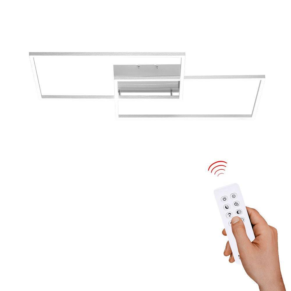 LED-Panel in stahlfarben Lichtrahmen und Lichtfarbsteuerung und Infrarot-Fernbedienung mit Dimmfunktion