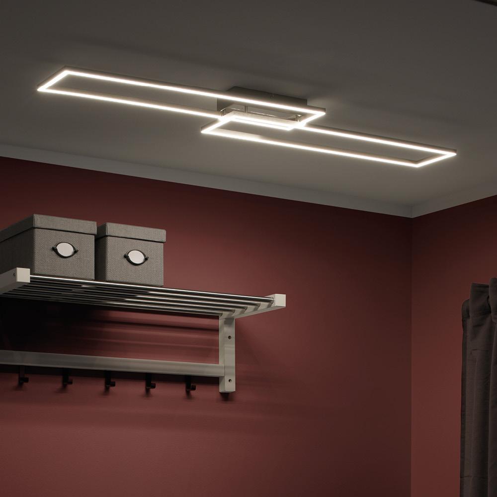 LED-Panel in stahlfarben mit 2 Leuchtrahmen und Lichtfarbsteuerung und Infrarot-Fernbedienung mit Dimmfunktion