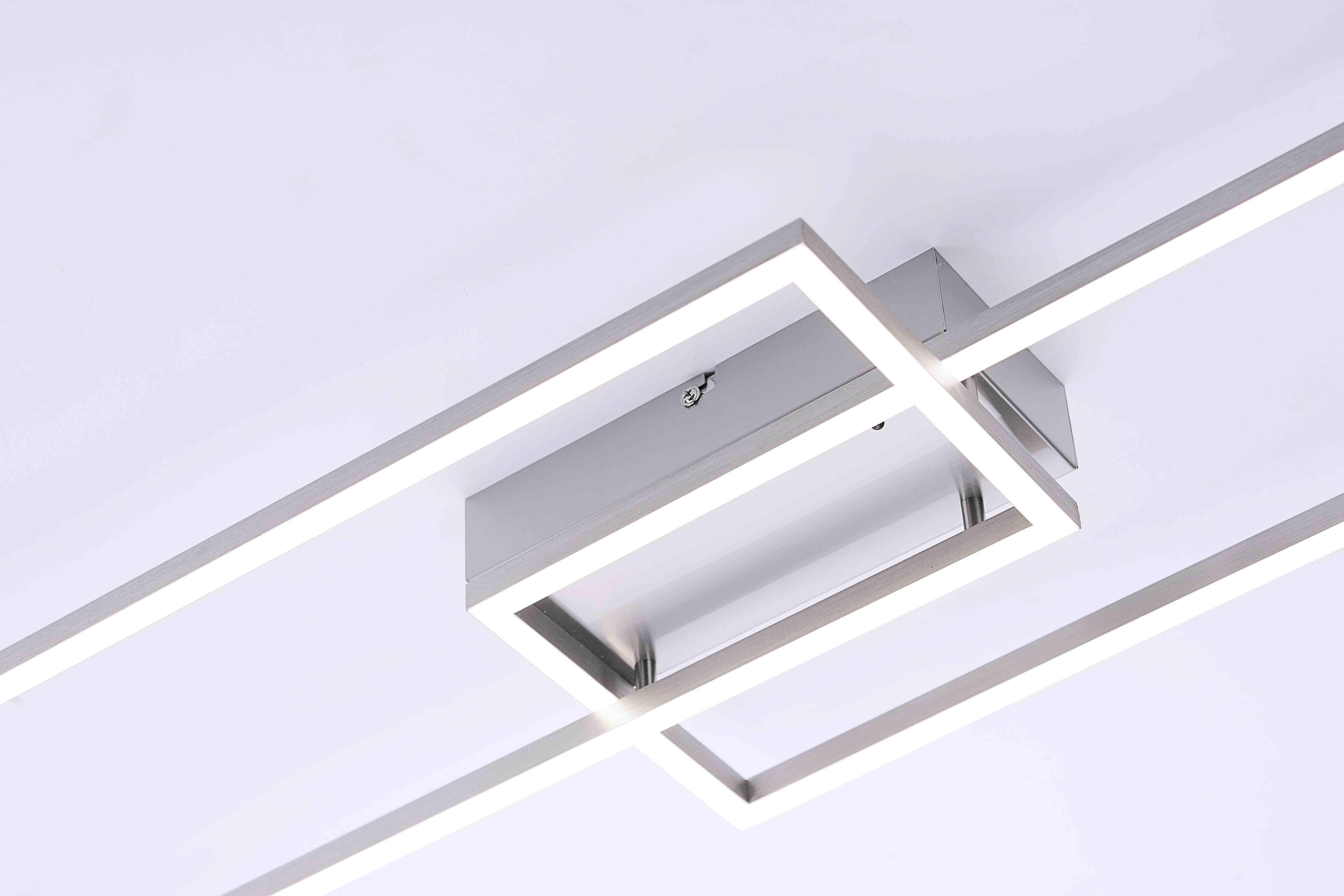 LED Deckenleuchte stahlfarben in geometrischer Form und modernem Design mit Farbtemperatursteuerung