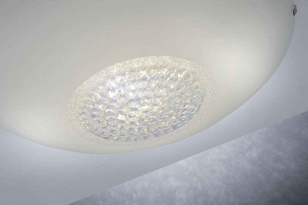 LED-Deckenleuchte aus satinierten Glas und Kristalleinsatz in rund inkl. Switchmo Dimmfunktion
