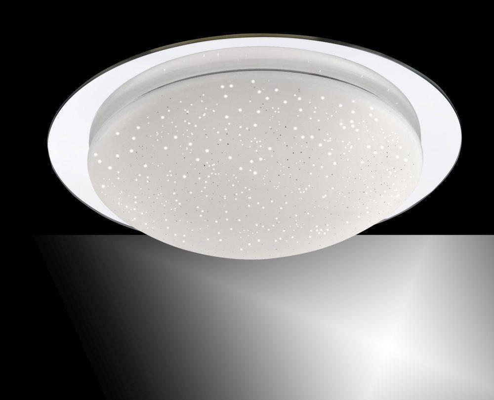 LED-Deckenleuchte in chromfarb und rund in Sternenhimmeloptik mit Lichtfarbsteuerung