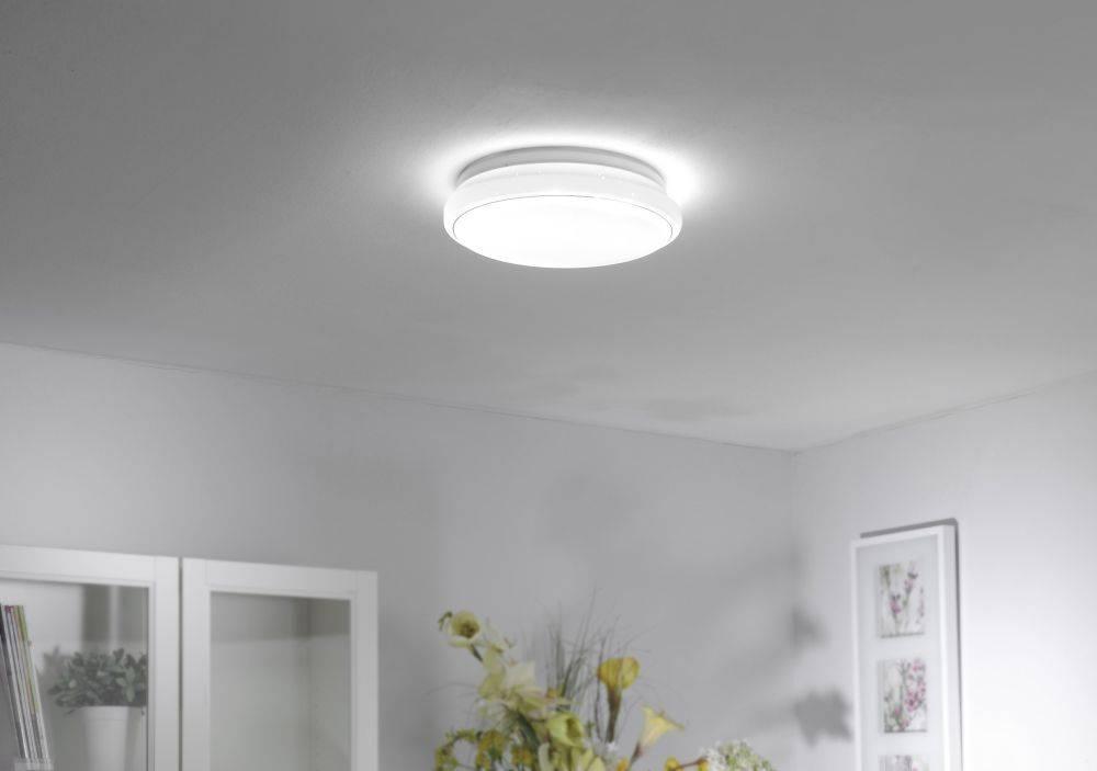 LED-Deckenleuchte in rund in Sternenhimmeloptik mit Lichtfarbwechsel