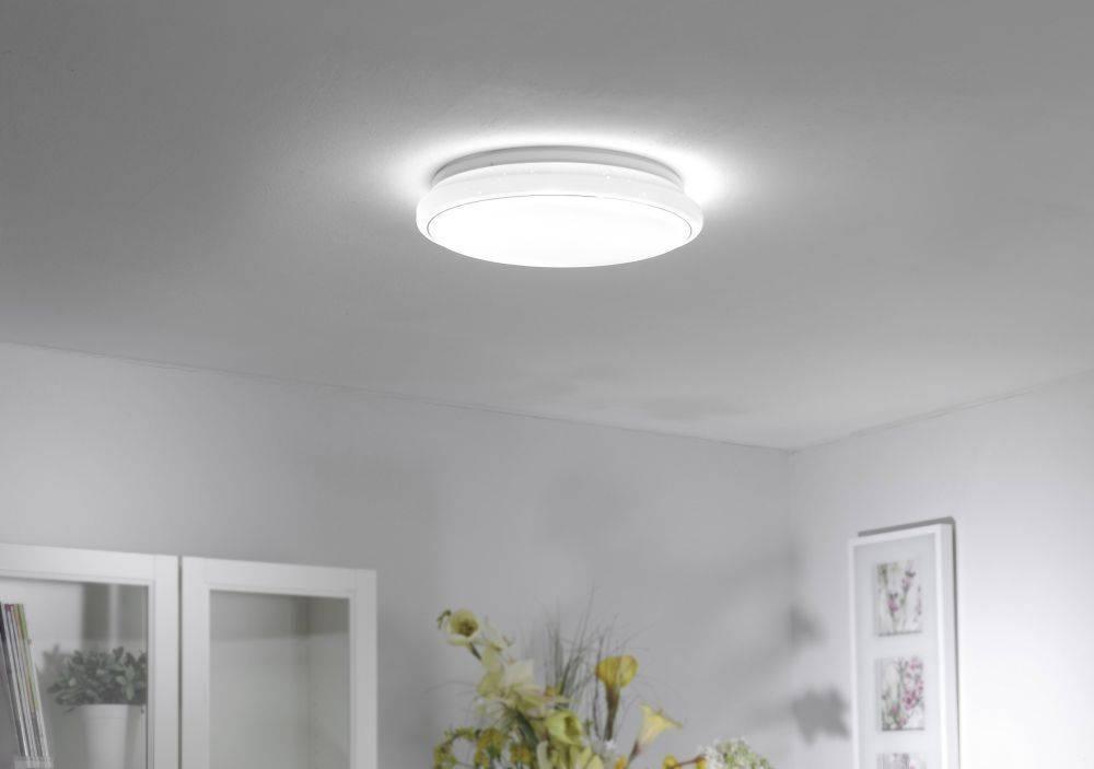LED-Deckenleuchte in rund mit Sternenhimmeloptik und Lichtfarbwechsel inkl. Memory- und Dimmfunktion