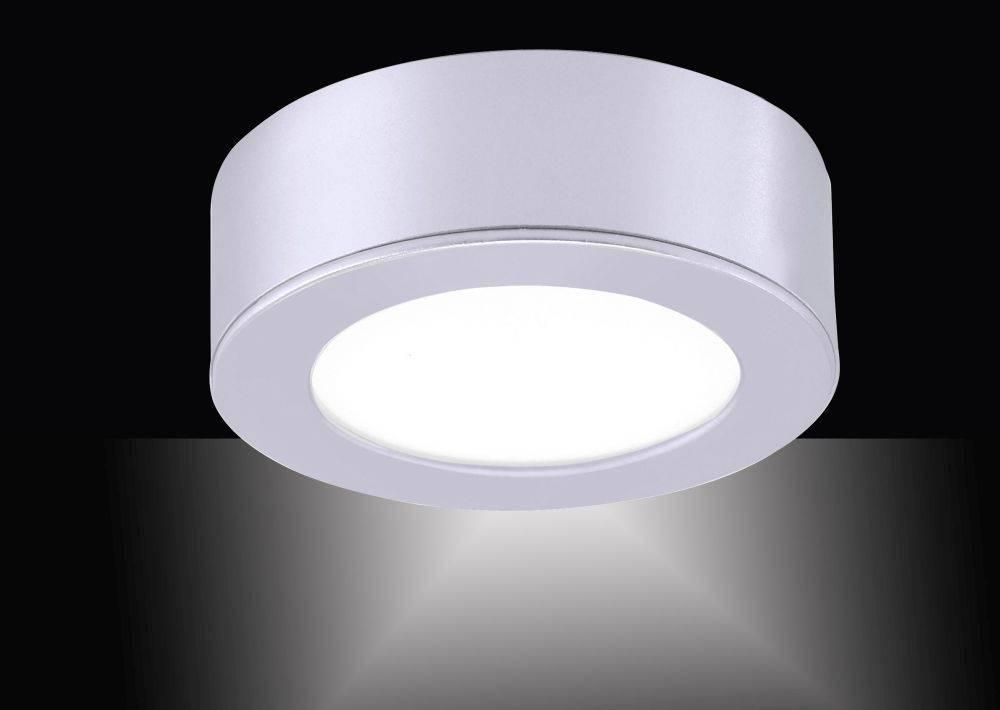LED-Einbauleuchte in silber und rund mit warmweißer Lichtfarbe inkl. Dimmfunktion strahlt blendfrei