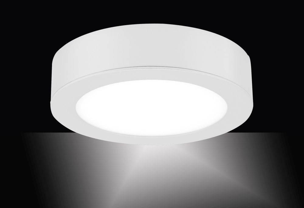 LED-Einbauleuchte in weiß und rund mit warmweißer Lichtfarbe inkl. Dimmfunktion strahlt blendfrei