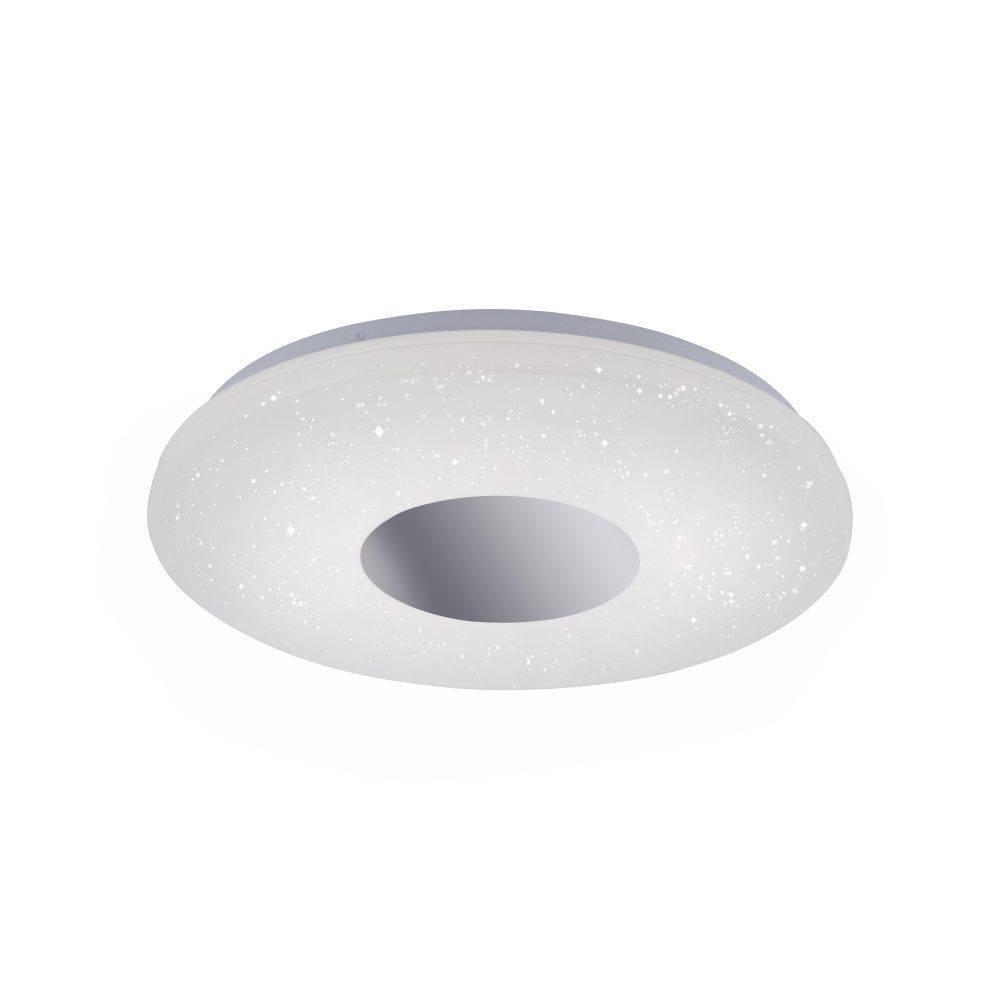 LED-Deckenleuchte in Chrom und rund mit Sternenhimmeloptik sowie Bewegungsmelder