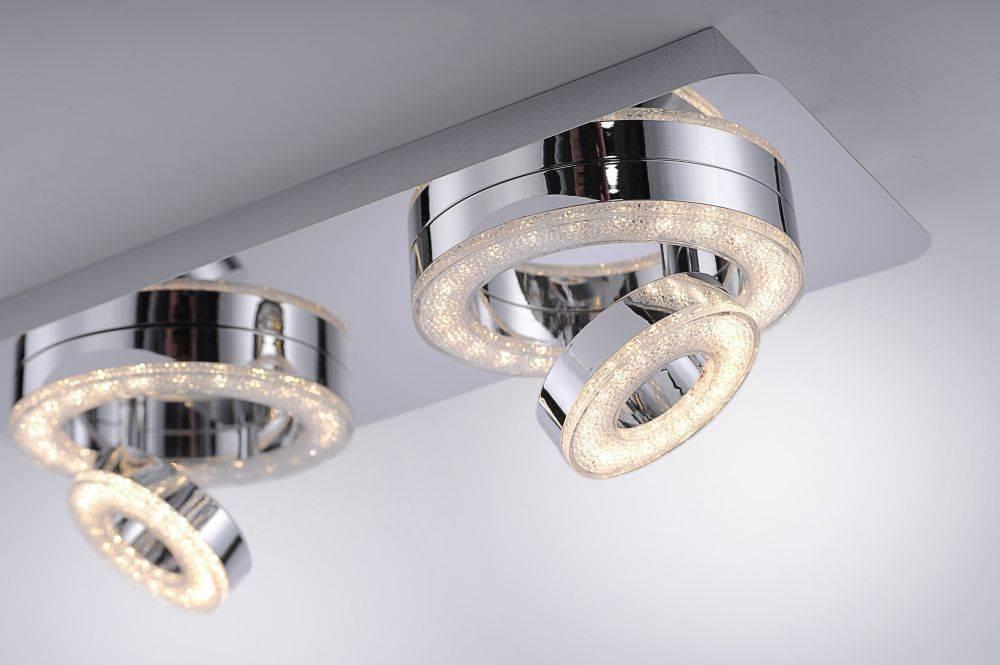 LED-Deckenleuchte in Chrom mit 2 verstellbaren Leuchtringen und warmweißer Lichtfarbe