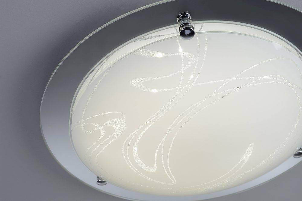 LED Deckenleuchte in rund und Chrom-Optik mit Glaskörper