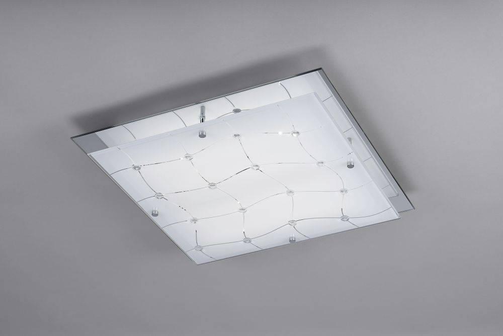 LED Deckenleuchte, chromfarben, Glas, Kristall-Look, 41,5x41,5cm