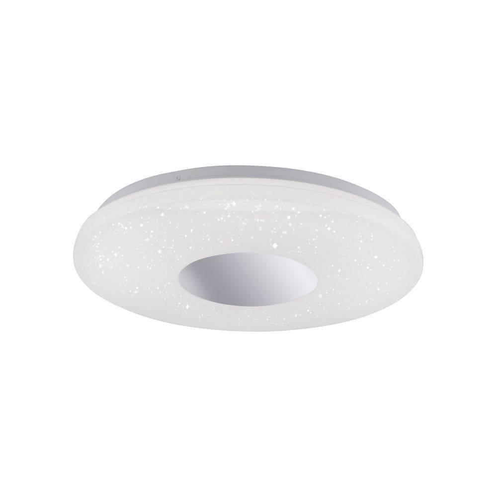 LED-Deckenleuchte in Chrom und rund mit Sternenhimmeloptik