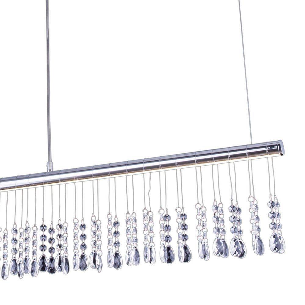 LED-Pendelleuchte in Chrom mit Kristallanhängern und warmweißer Lichtfarbe ist energiesparend