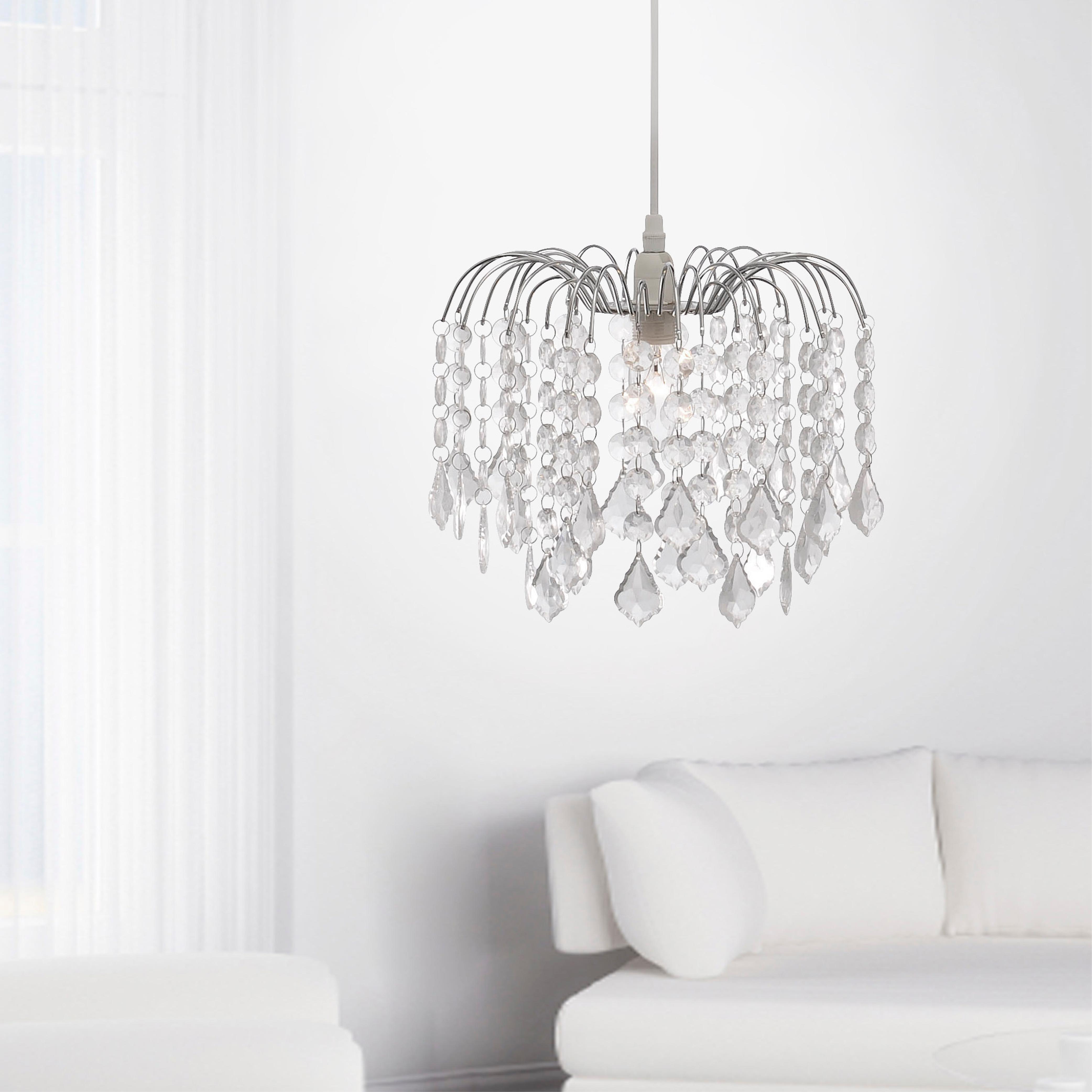 Kronleuchter, transparenter Kunststoffglasbehang, E14 Fassung, modern
