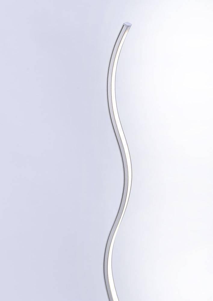 LED-Stehleuchte in Stahl und Wellenform mit warmweißer Lichtfarbe inkl. Fußschalter ist energiesparend