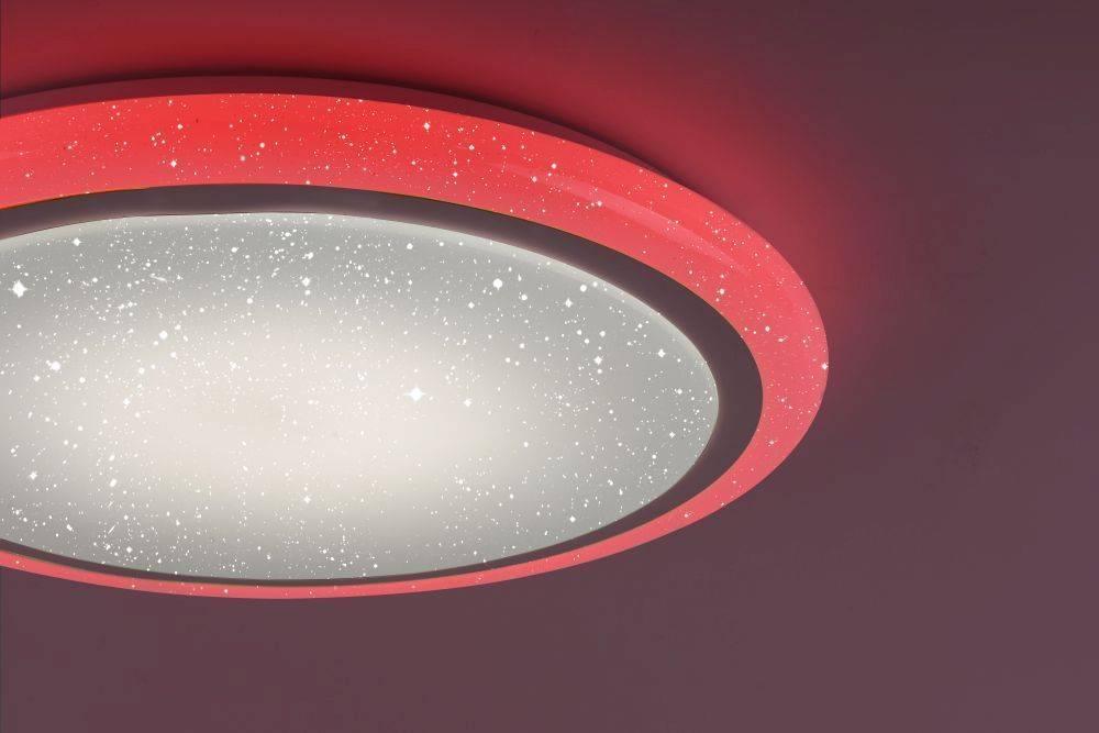 LED Deckenleuchte rund und weiß in Sternenhimmeloptik mit Infrarot-Fernbedienung